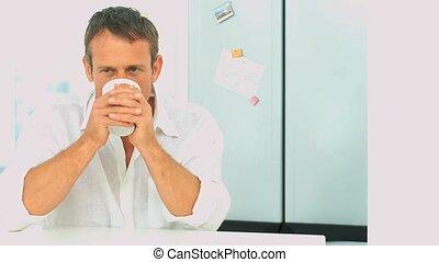durun, tasse à café, mâle, boire