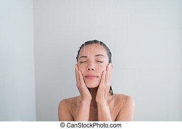 duscha, tvagning, avkopplande, ansikte, skur, kvinna