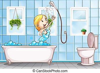 Dusche frau frau abbildung dusche hintergrund for Badezimmer clipart