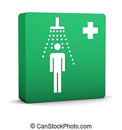 dusche, grün, zeichen