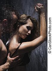 dusche, mann- frau