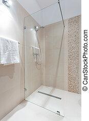 dusche, mit, glas tür