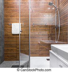Dusche badezimmer holz effekt badezimmer dusche - Fliesenmuster dusche ...