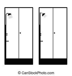 duschkopf, schwarz, abbildung