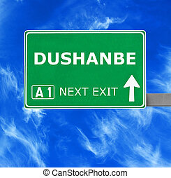 DUSHANBE road sign against clear blue sky