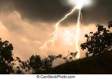 lightning strike - dusk and a powerful lightning strike over...