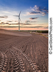 Dusk at field with wind turbine in autumn