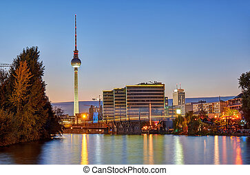 Dusk at the river Spree in Berlin with the famous Television...