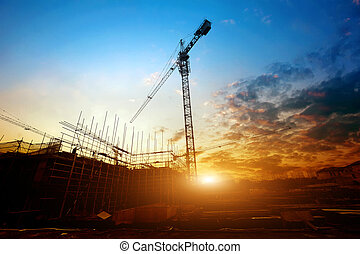 Dusk building site - Construction site, silhouettes of ...