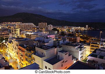 dusk., cristianos, techos, isla, encima, canario, los, tenerife, españa, vista