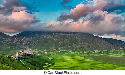 Dusk in the mountains over Castelluccio, Umbria, Italy
