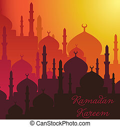 Dusk Mosques Ramadan Kareem (Generous Ramadan) card in vector format.