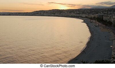 Dusk Night Lights Aerial Panoramic View Nice French Riviera...