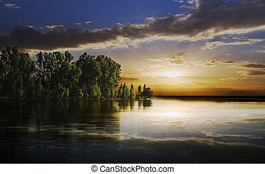 dusk on a lake