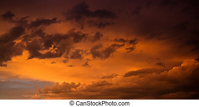 Red cloudy sky at sunset, copy space, wallpaper.