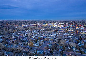 dusk over city of Fort Collins in Colorado - dusk over city ...