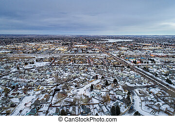 dusk over city of Fort Collins in Colorado - winter dusk ...
