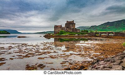 Dusk over lake at Eilean Donan Castle, Scotland
