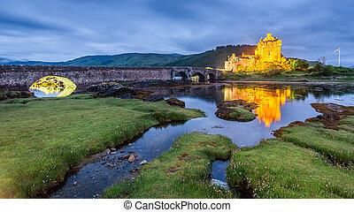 Dusk over loch at Eilean Donan Castle in Scotland, UK