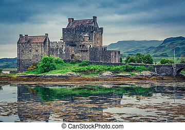 Dusk over loch at Eilean Donan Castle in Scotland