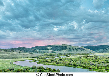 dusk over North Platte River in Colorado