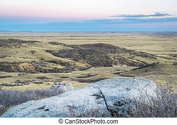 dusk over prairie in northern Colorado near Fort Collins - ...