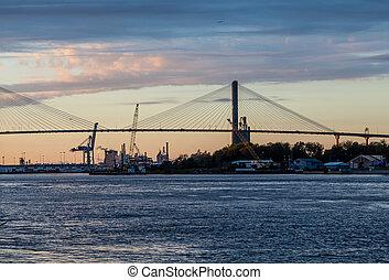 Dusk Over Suspension Bridge