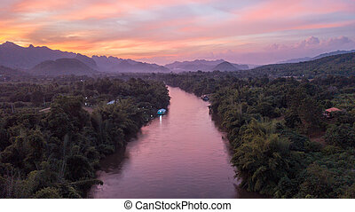 Dusk over the Kwai Noi River in Kanchanaburi, Thailand