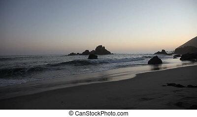 Dusk - Pacific coast dusk at Pfeiffer Beach, Big Sur,...