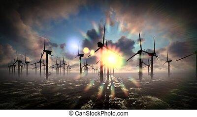 Dusk skies over windmill offshore turbines farm - Dusk skies...