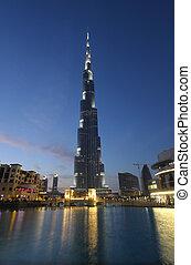 dusk., verenigd, arabier, dubai, burj, khalifa, emiraten