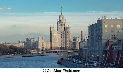 Dusk view of the Kotelnicheskaya Embankment Building day to night hyperlapse in Moscow timelapse, Russia.