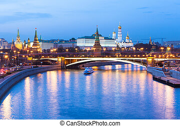 Dusk view of the Moscow Kremlin