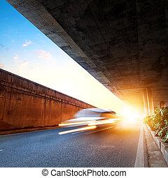 Dusk, when the viaduct, dynamic fuzzy car.