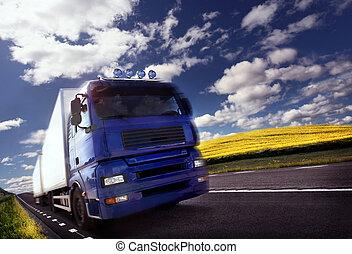 dusk/motion, conduite camion, barbouillage