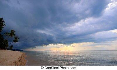 Dusky Beach with Palms and Impressive Sky.