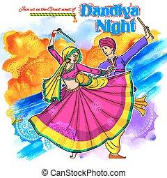 dussehra, fest, dandiya, paar, indien, plakat, disko, nacht, navratri, garba, spielende