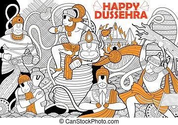 dussehra, festival, doodle, indien, navratri, hanuman, glade