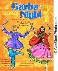 dussehra, fiesta, dandiya, pareja, india, cartel, disco, noche, navratri, garba, juego