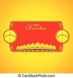 dussehra, pil, festival, indien, illustration, bøje sig, ...