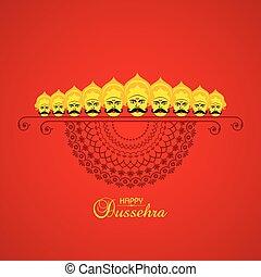 dussehra, pil, festival, indien, illustration, bøje sig,...