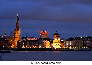 Landmarks of Old City (Altstadt) Dusseldorf at night