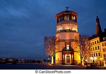 Schlossturm tower in Old City (Altstadt) Dusseldorf at night