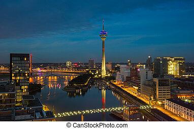 Dusseldorf at night, germany