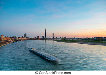 Dusseldorf at sunset at the rhine river