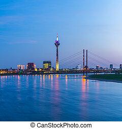 Dusseldorf at sunset blue hour