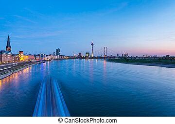 Dusseldorf cityscape at blue hour