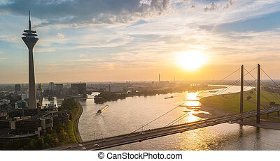 Dusseldorf cityscape sykline view at sunset