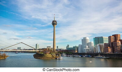 Dusseldorf cityscape with view on media harbor, Germany,...