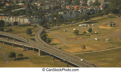 Dusseldorf from the height of bird flight - Top view of...